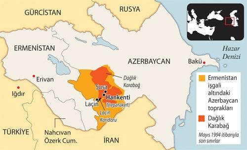 Hocalı, haritada yer alan Hankenti ve Şuşa yakınlarında yer almaktadır. 1992 ve 1993 yıllarında Ermeniler tarafından işgal edilen Azerbaycan toprakları...